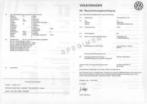EUROPEAN CERTIFICATE OF CONFORMITY C.O.C VOLKSWAGEN