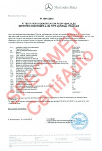 le certificat de conformite c o c mercedes francais certifie certifauto certifauto. Black Bedroom Furniture Sets. Home Design Ideas