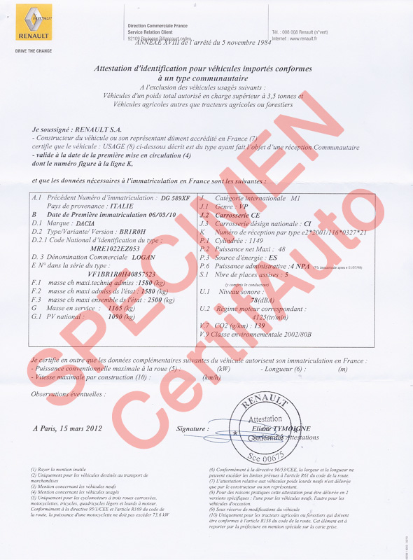 certifauto certificate of conformity c o c information f a q. Black Bedroom Furniture Sets. Home Design Ideas