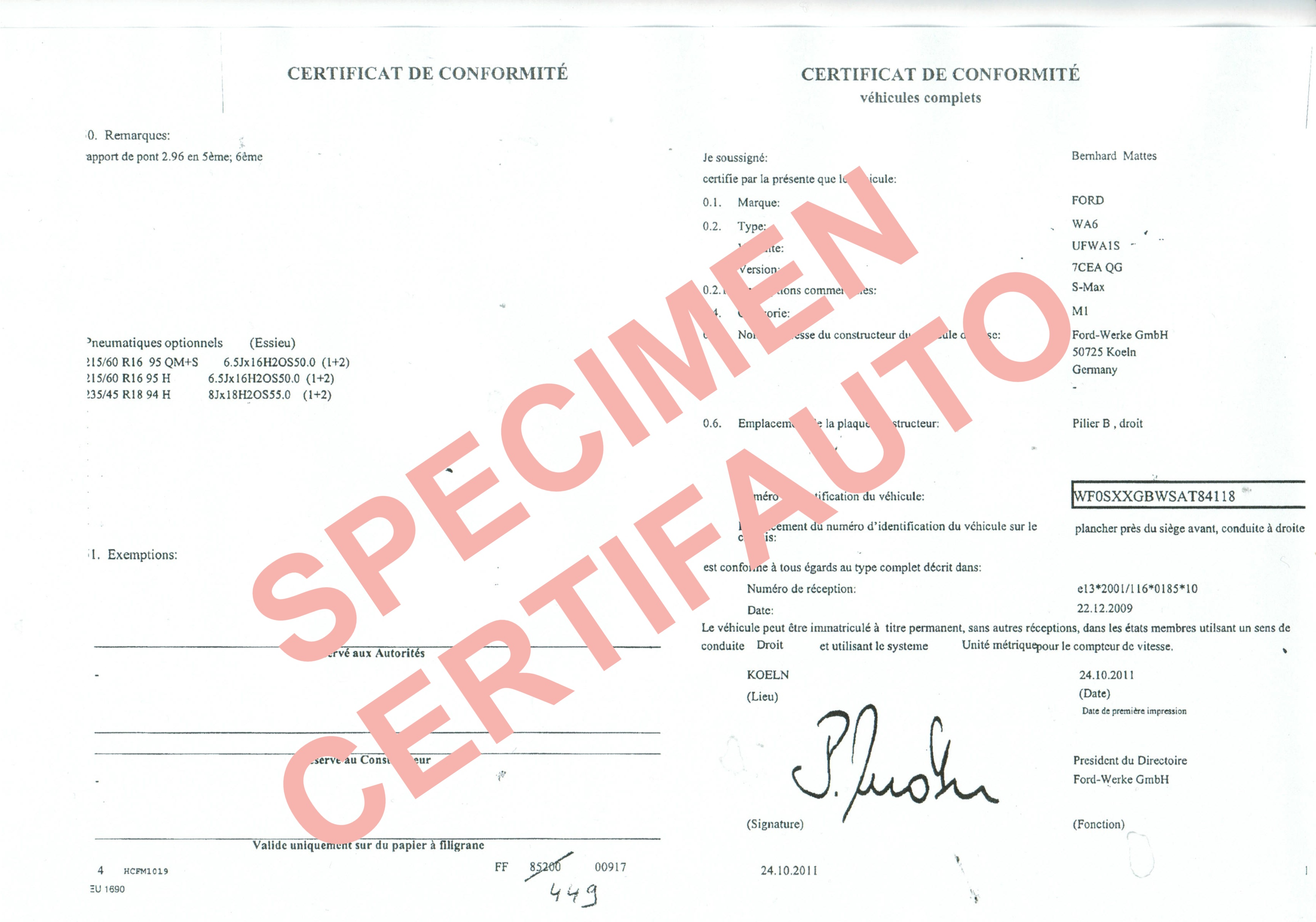 certificat de conformit fran ais ford c o c ford france service homologation officiel. Black Bedroom Furniture Sets. Home Design Ideas