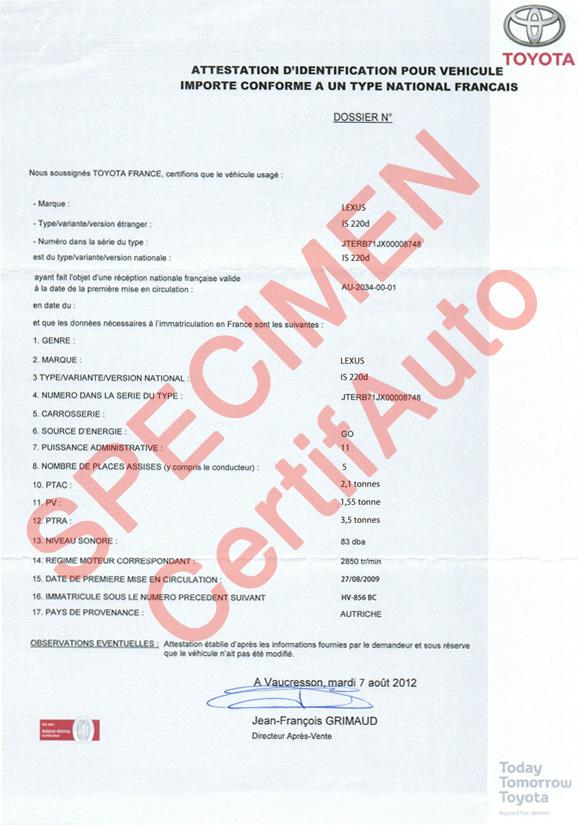 certificat de conformit toyota gratuit id es d 39 image de voiture. Black Bedroom Furniture Sets. Home Design Ideas