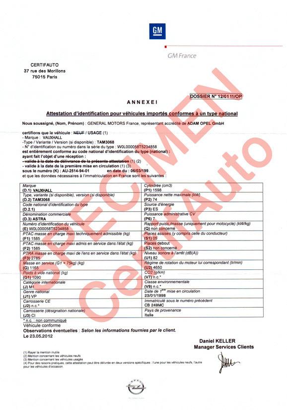 Certifauto  Certificate Of Conformity COC  Information  FAQ